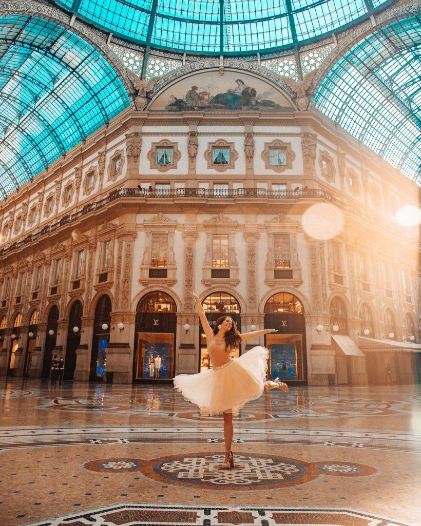 Bettina Dancing in Galleria Vittorio Emanuele II in Milan