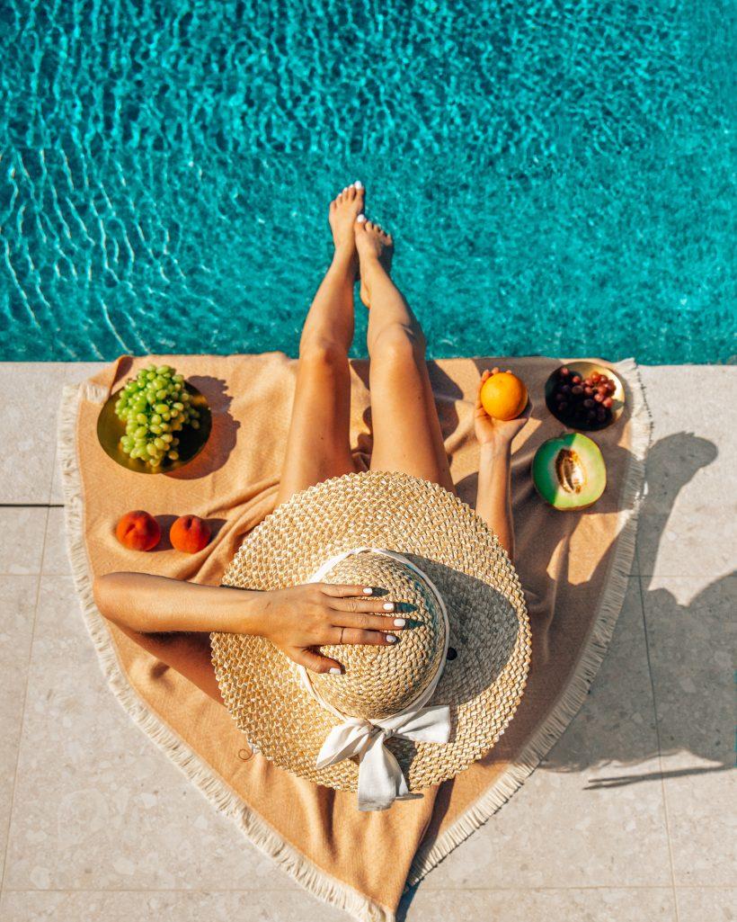 Breakfast by the Pool in Santorini
