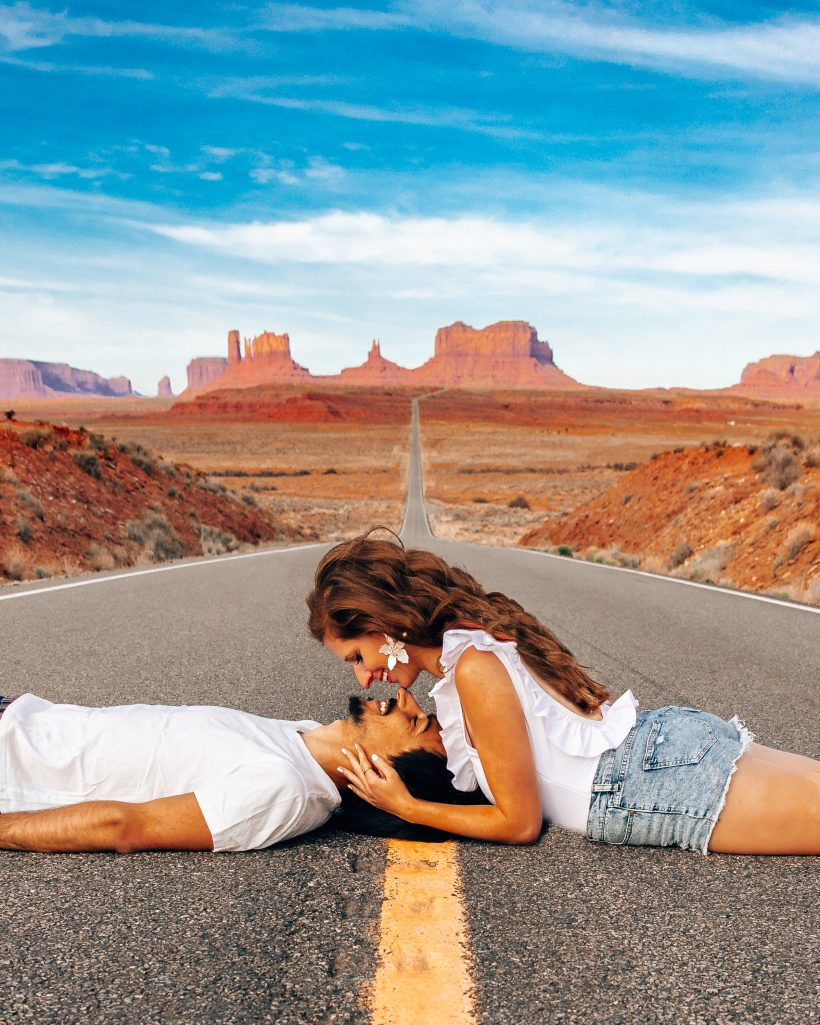 Couple Kissing at Monument Valley