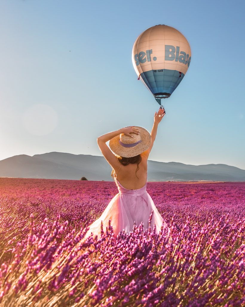 Bettina Waving at Hot Air Balloon in Lavender Fields France