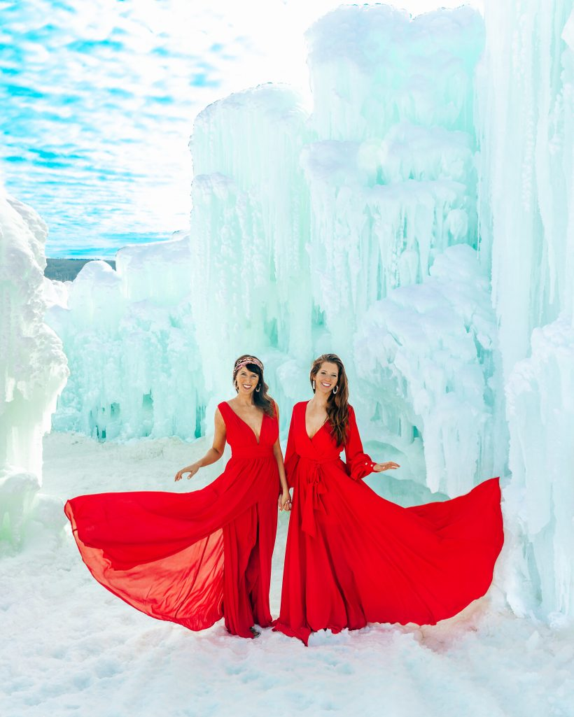 Bettina and Talia at Ice Castle in Wisonsin