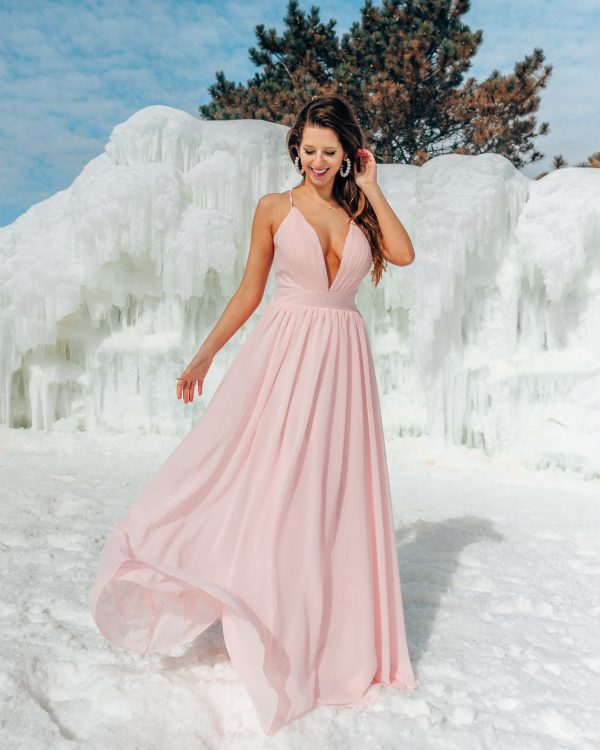 A-Line Low Plunge and Low Back Bridesmaid Dress 1