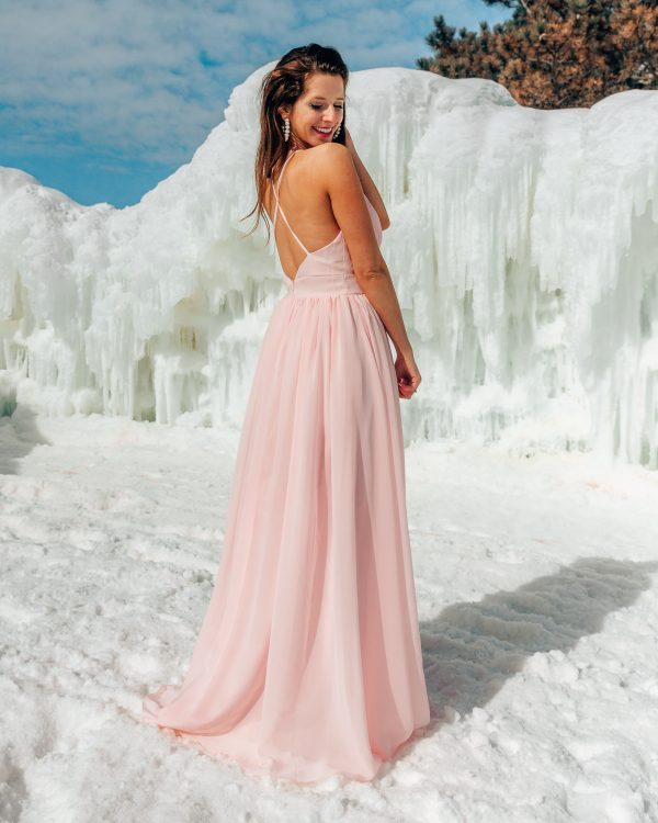 A-Line Low Plunge and Low Back Bridesmaid Dress 2