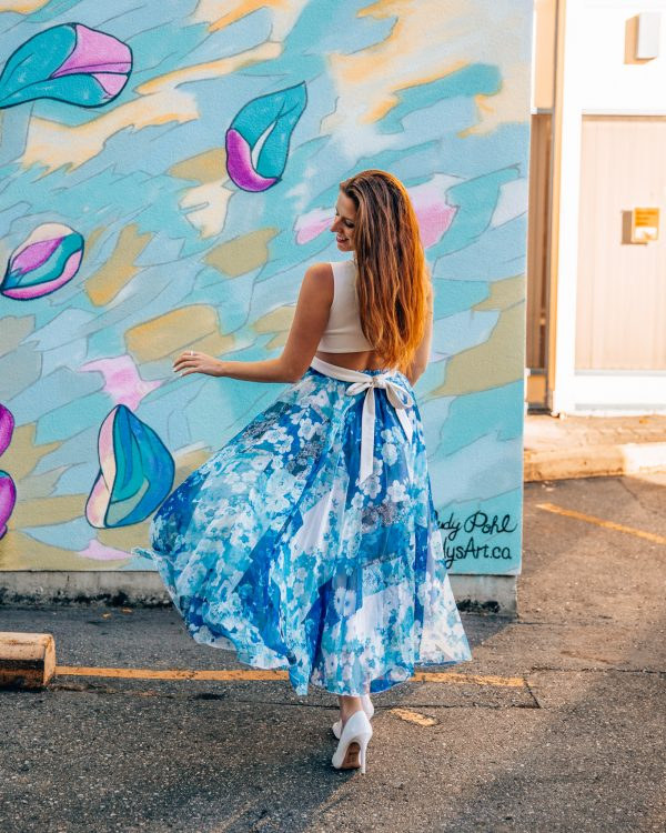 Ultra Light Blue Floral Midi Skirt 2