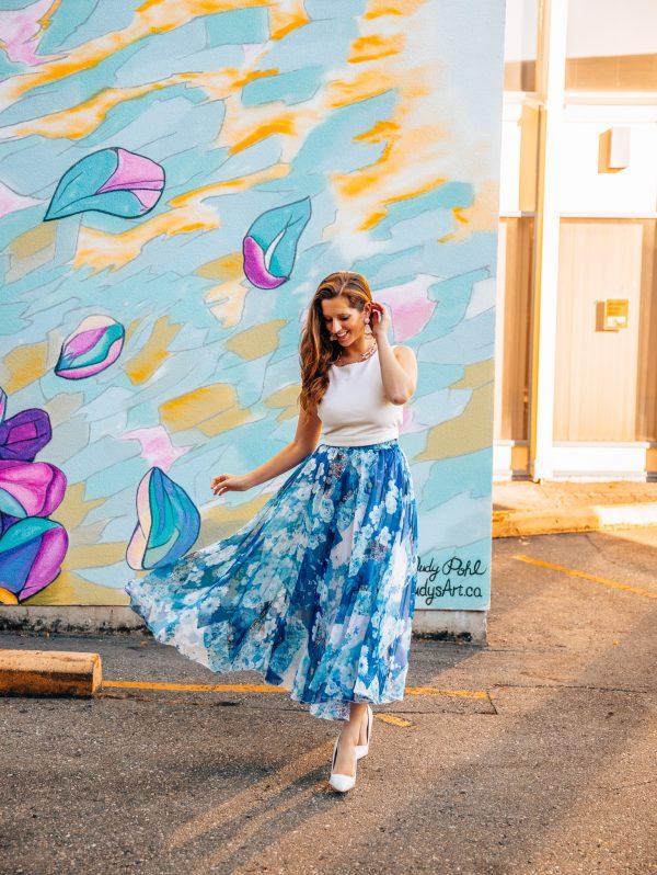 Ultra Light Blue Floral Midi Skirt 1