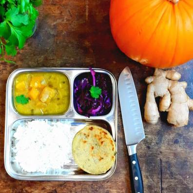 Daily vegetarian menu with different thali dishes