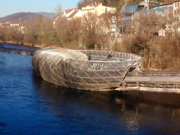 """If Frank Gehry were to design an island, this is what it would look like. It actually is a boat and night club moored in the river, but everyone calls it """"the Island""""."""