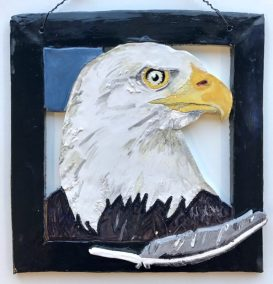 Holly Sabourin Eagle wall hanging