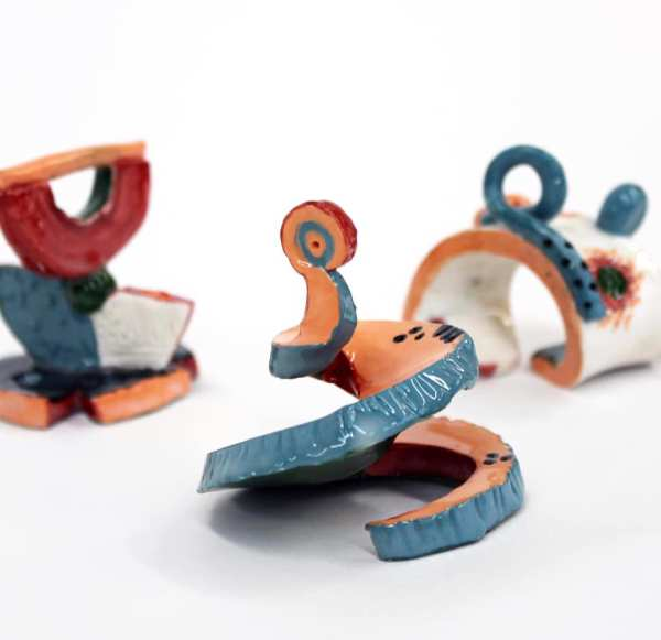 Three small abstract sculptures by Holly Sabourin
