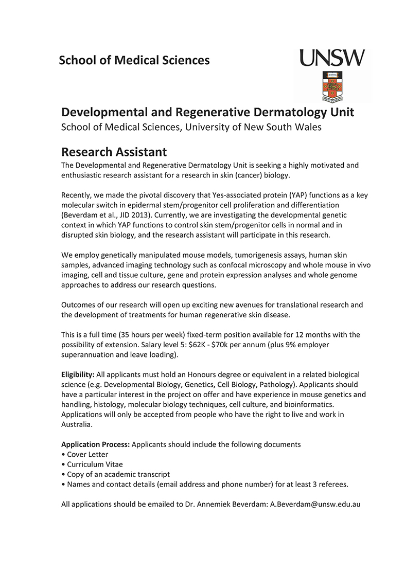 Unsw Cover Letter Job Opportunity At Unsw In Sydney Australia Research Assistant