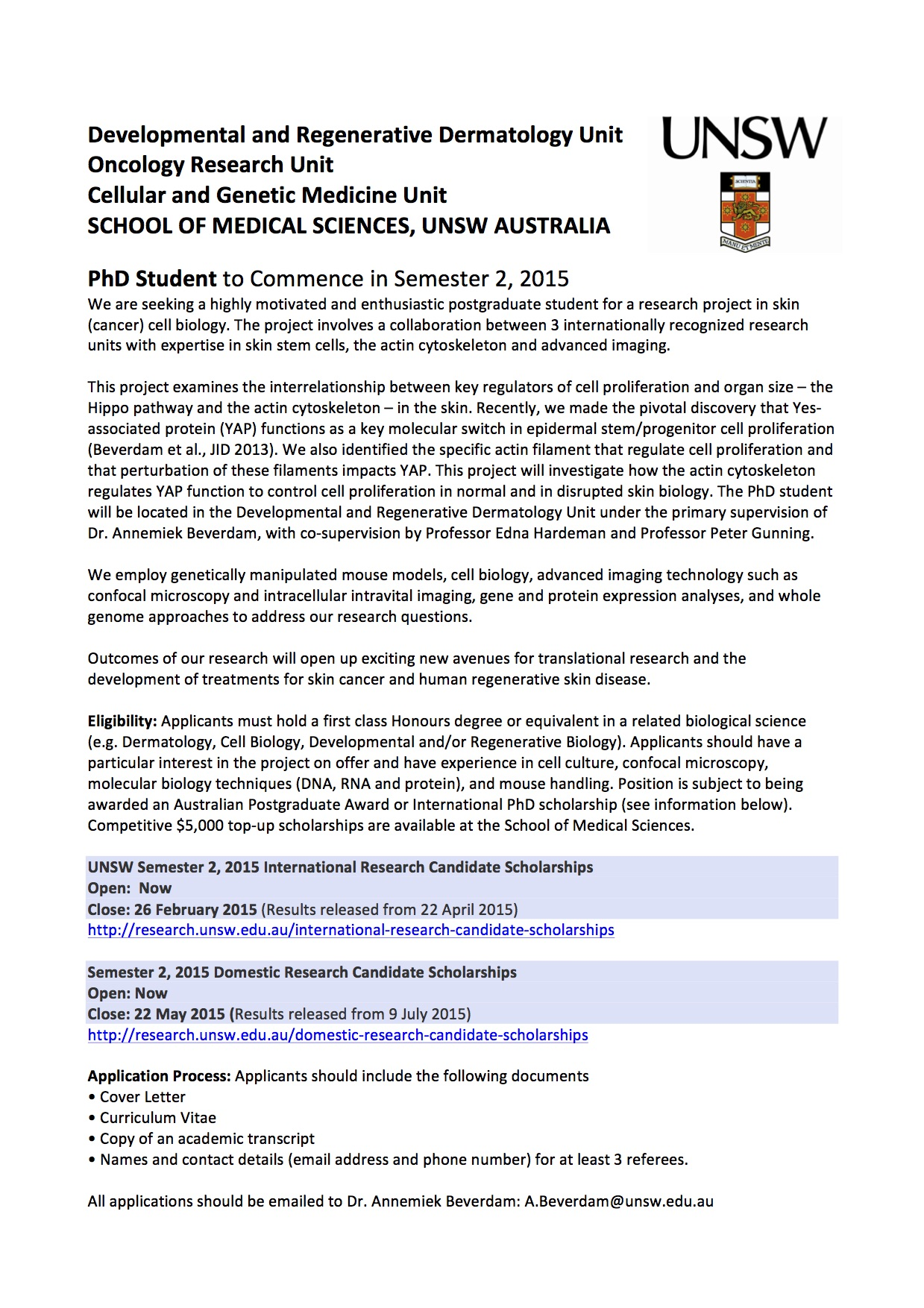 Unsw Cover Letter Looking For Phd Student To Investigate How Actin Regulates Yap