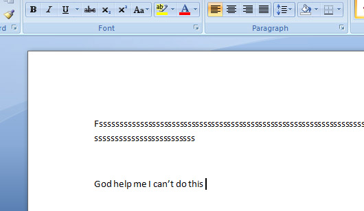 Blank page syndrome in picture form. A Word document that has a lot of nonsense.