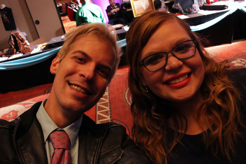 Michael Noker and his friend Hannah posing for a selfie at the Outstanding Awards.