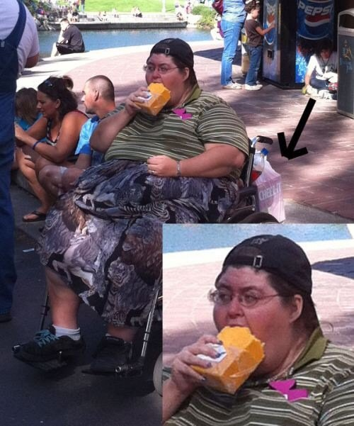 Woman eating a block of cheese the size of a car battery.
