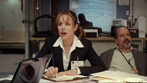 A clip from Morning Glory, which is a movie about Rachel McAdams being quirky and awkward and not realizing that boys like her because she's a workaholic.