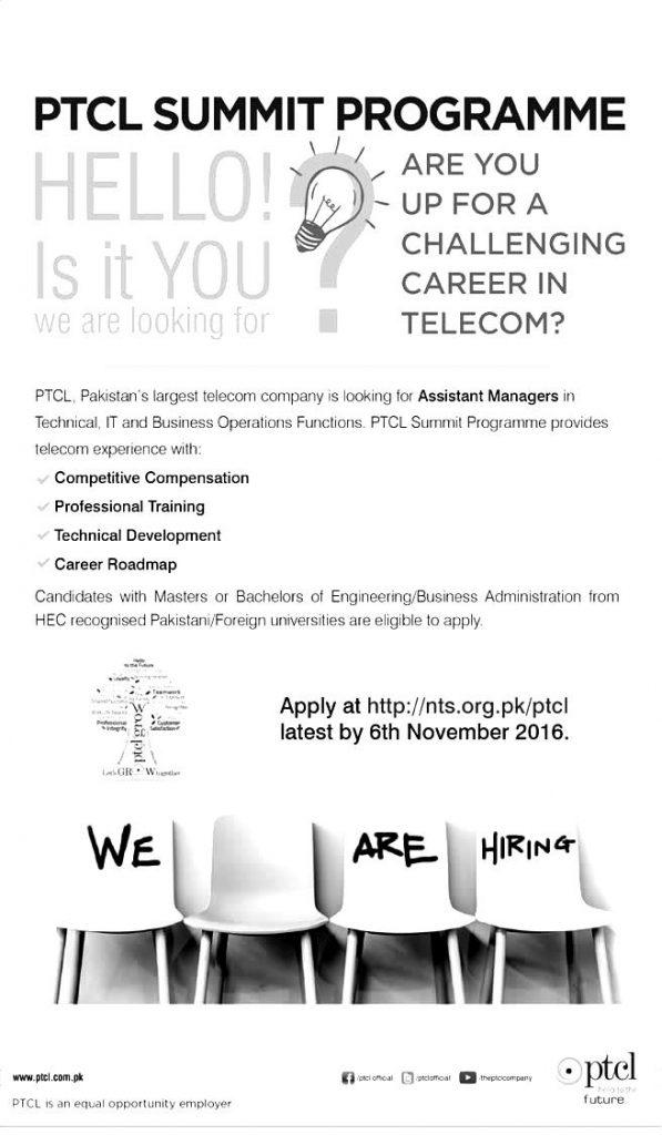 PTCL Summit Programme 2021 Online Application Form NTS Test Eligibility Criteria Details Assistant Managers