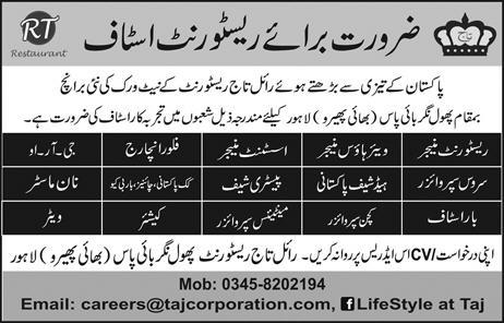 Royal Taj Restaurant Lahore Jobs 2016 Applying Procedure Interview Last Date