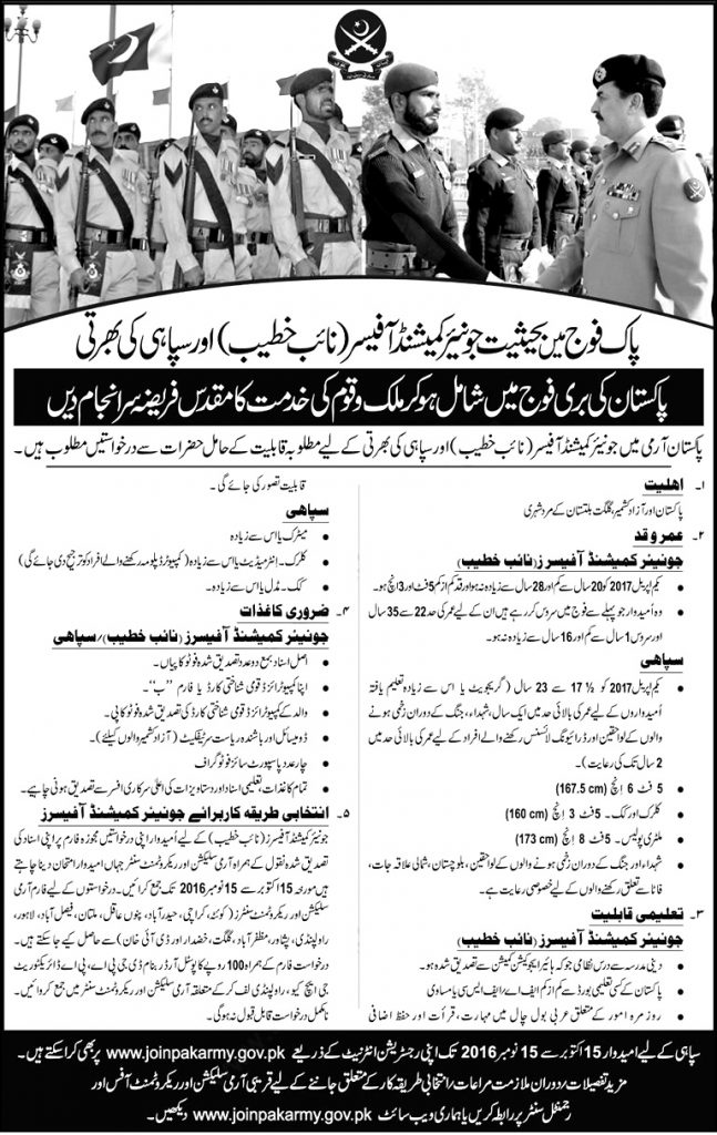 Join Pakistan Army as Sipahi 2016 Jobs Soldiers, Clerks