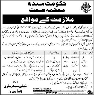 Government of Sindh Health Department Jobs 2018 Application Form Last Date Public Private Partnership Eligibility Criteria