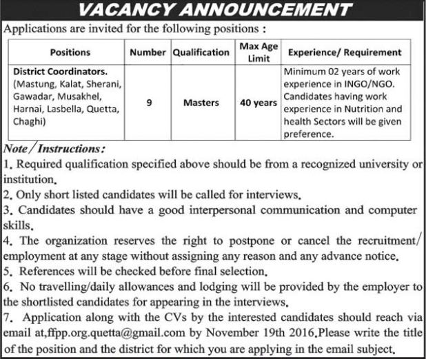 NGO District Coordinator Jobs Balochistan 2016 District Coordinators Application Form Eligibility Criteria Procedure to Apply