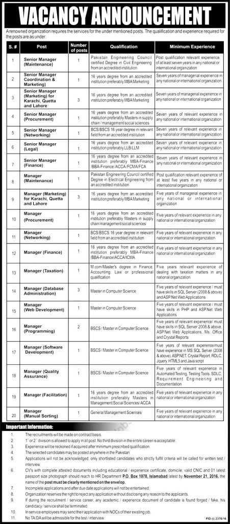 Managers in Government Organization Islamabad Jobs 2016 Senior Managers Eligibility Criteria Last Date Procedure to Apply