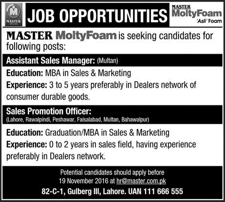 Master Molty Foam Pakistan Jobs 2016 Eligibility Criteria Procedure to Apply Assistant Sales Manager Sales Promotion Officers