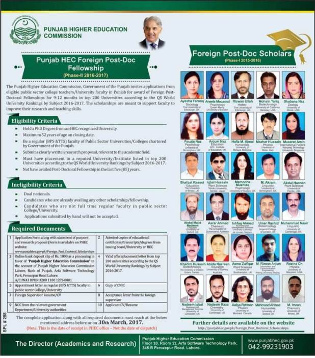PHEC Punjab Higher Education Commission Foreign Post-Doctoral Fellowships 2017 Download Form Applying Procedure Terms and Conditions