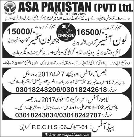 ASA Pakistan Pvt Ltd 2021 Loan Officers Junior Loan Officers Download Application Form Eligibility Criteria Procedure to Apply