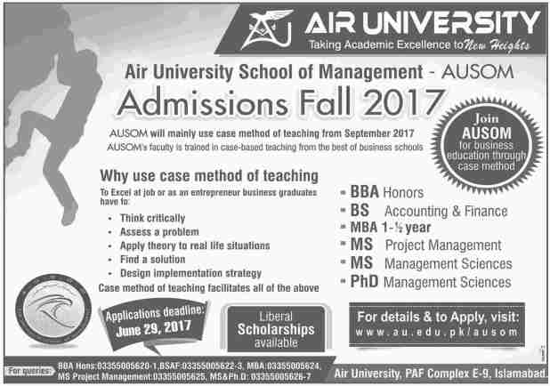 AU Air University Admission 2017 Application Form How To Apply Last Date Test Schedule BS BE Mphil PHD