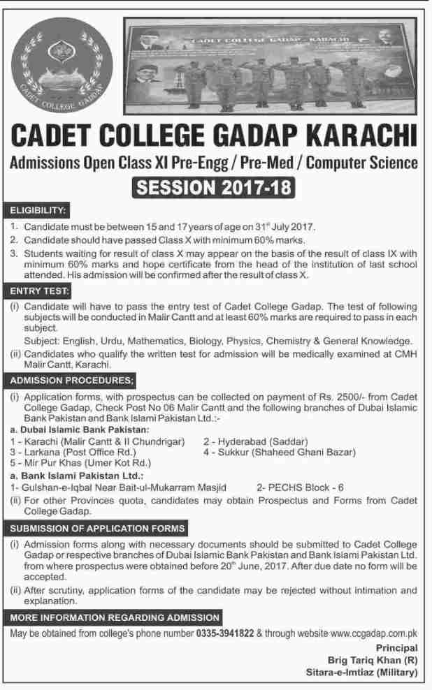 Cadet College Gadap Karachi Admission Open 2017 Application Form Download Prospectus Eligibility Criteria Schedule and Dates