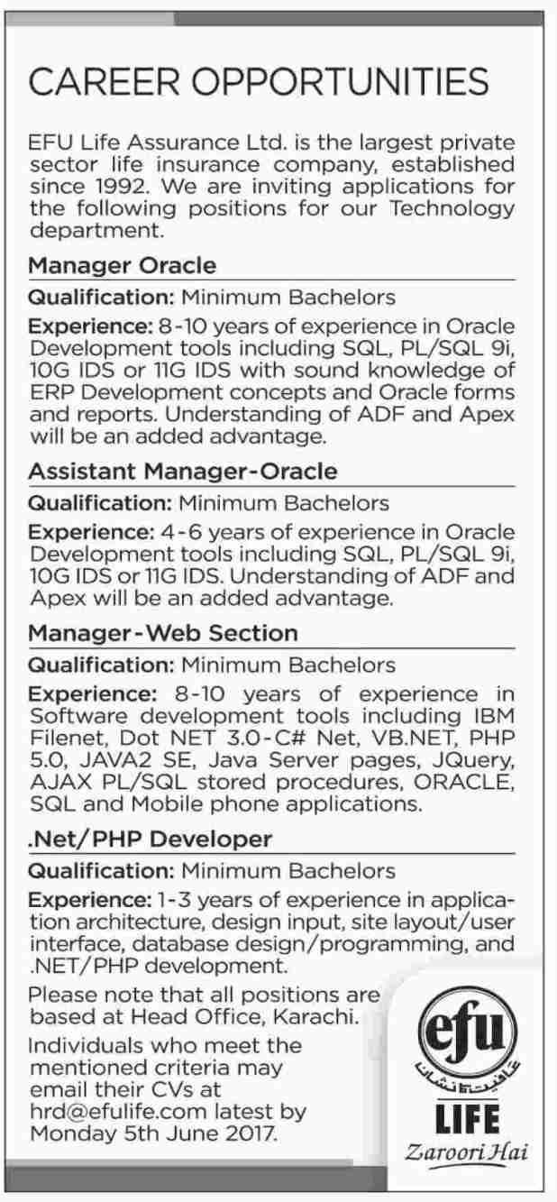 Career Opportunities EFU Eastern Federal Union Life Assurance LTD Jobs 2017 Online Apply Eligibility Criteria Last Date