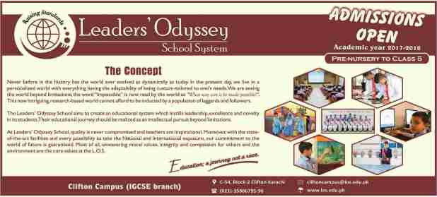 Leaders Odyssey School System Admission Pre-Nursery to Class Five 2017 Eligibility Criteria