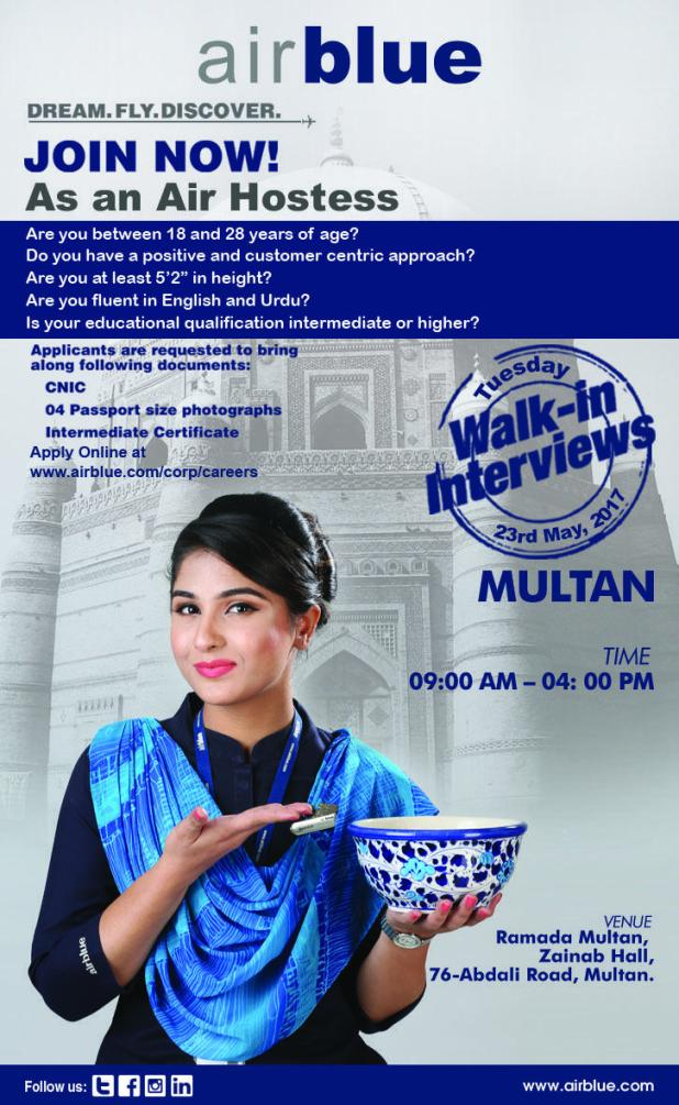 Air Hostess in Air Blue Jobs 2017 Walk in Interviews Multan How To Apply Online Submition Form Eligibility Criteria