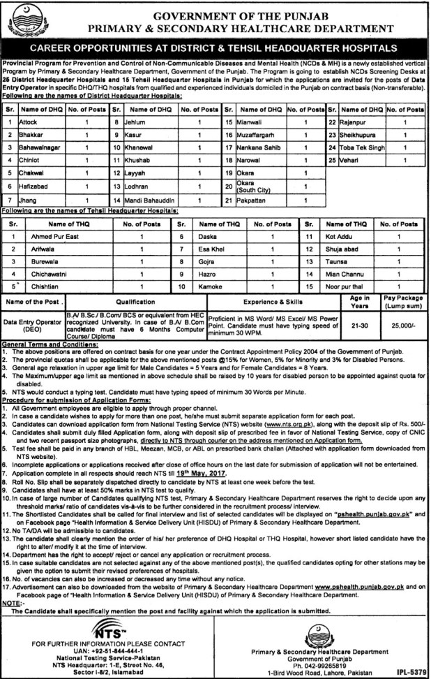 Govt of Punjab Primary and Secondary Healthcare Department DHQ and THQ Jobs 2017 NTS Test Download Form Submission Last Date Written Test