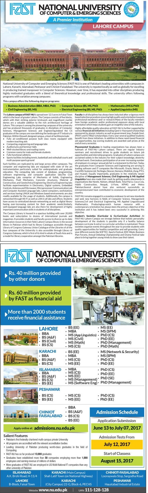 FAST National University Of Computer And Emerging Sciences Admission 2017 Application form Test Schedule online Apply