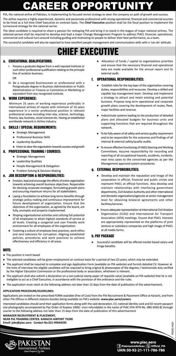 Pakistan International Airline PIA Job 2021 As Chief Executive Application Form The Requirement Last Date