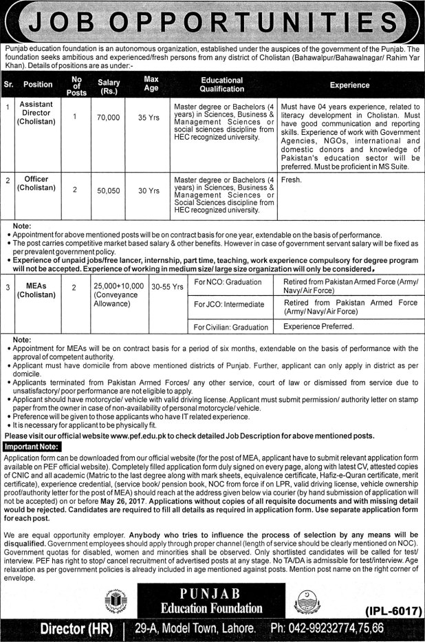 Punjab Education Foundation Autonomous Organization Latest Jobs 2017 Application Form Are Invited by Experienced and Fresh Candidates Eligibility Criteria Last Date