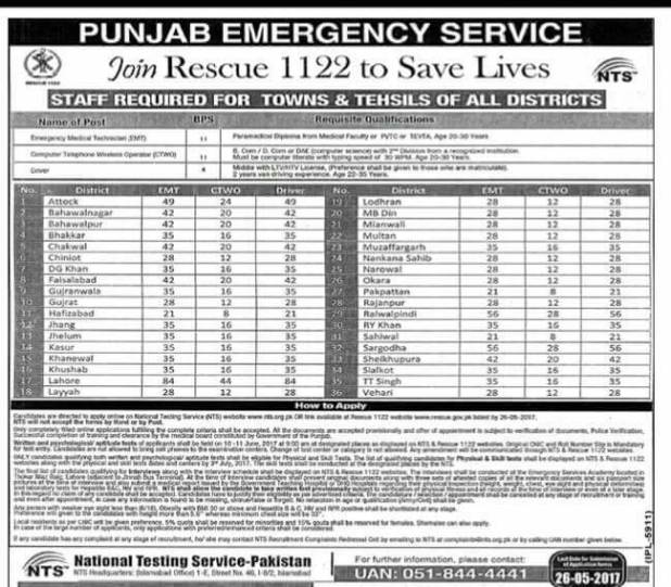 Punjab All Towns and Tehsils Staff Required Rescue 1122 Emergency Service Jobs 2017 Application Form NTS Test Candidates Lists Roll Number Slips