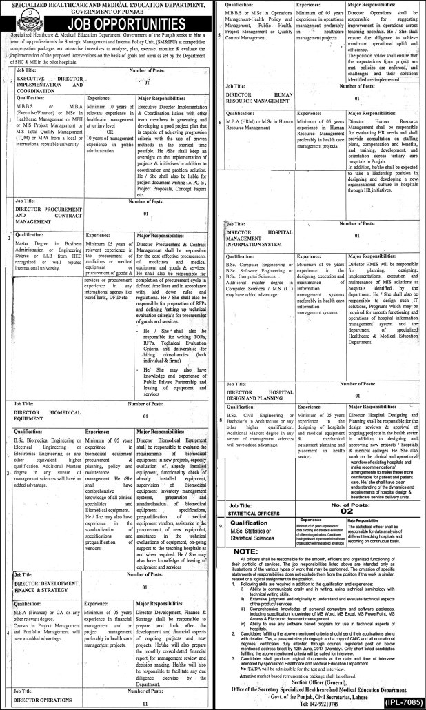 Specialized Healthcare And Medical Education Department Govt Of Punjab Jobs 2017 Application Form Eligibility Criteria How To Apply Last Date
