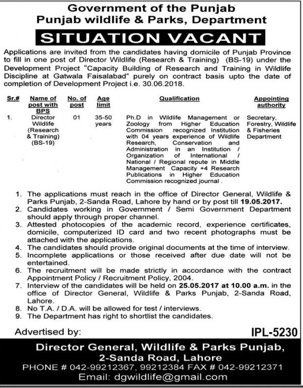 Govt of Punjab Wildlife and Parks Development Jobs 2021 Written Test Dates Application Form Eligibility Criteria