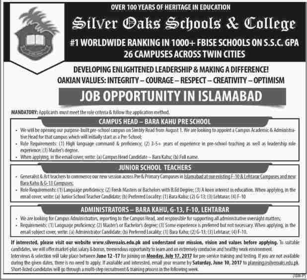 Silver Oaks School & College Jobs 2017 Application Form Test Schedule term & Condition