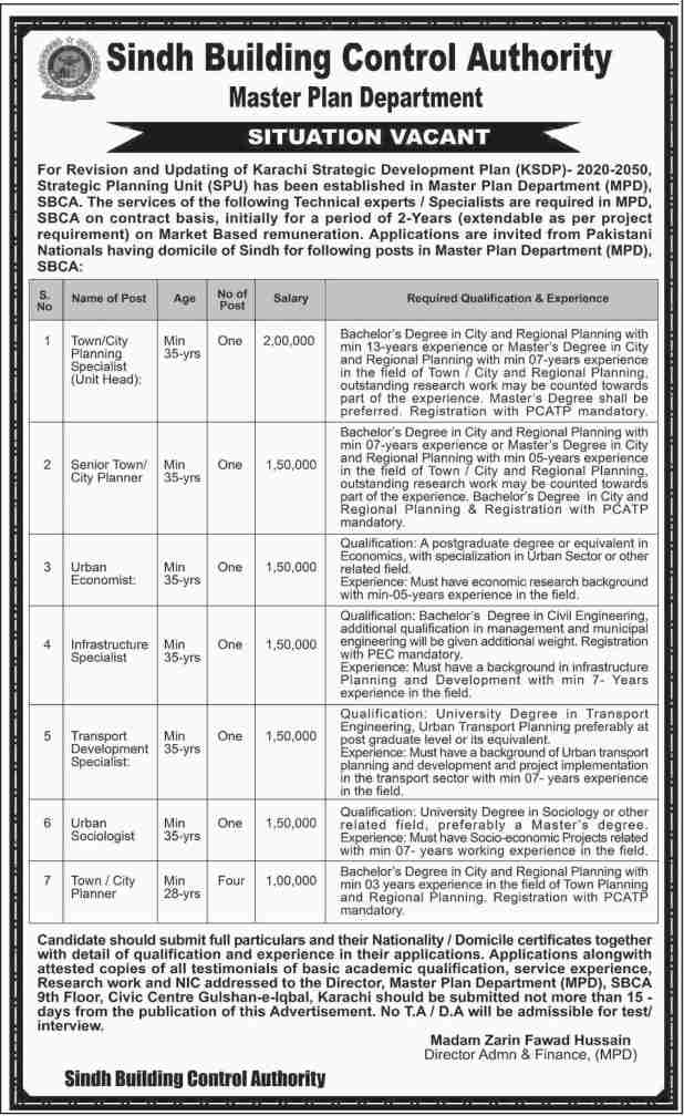 Sindh Building Control Authority Master planning Department Karachi  Jobs 2017 Registration Online Test Schedule