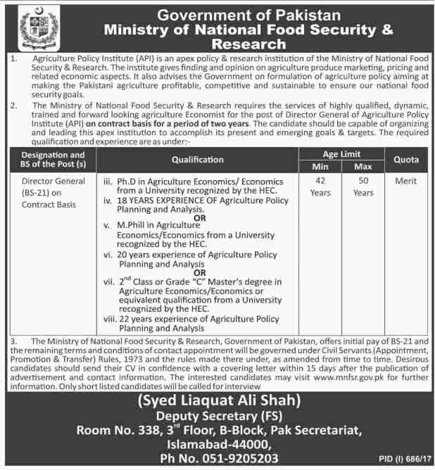Govt of Punjab Ministry of National Food Security and Research Jobs 2017 How to Fill Application Form Last Date