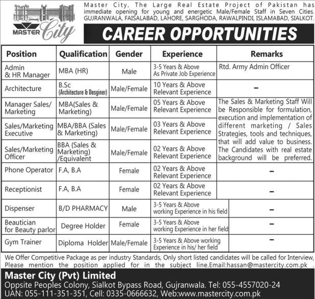Master City Largest Real Estate Project Pakistan Jobs 2017