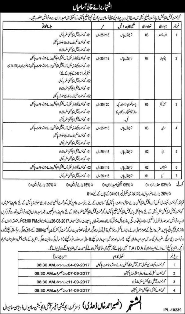 Govt Special Education Department District Pakpattan Jobs 2017 Application Form Download Last Date