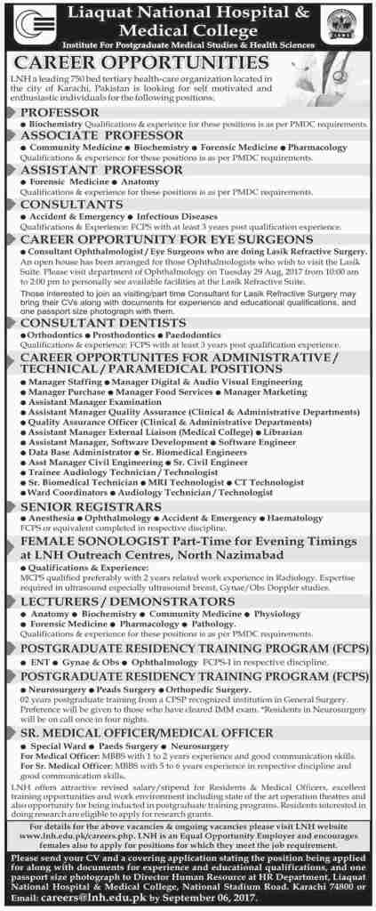 Liaquat National Hospital and Medical College Karachi Admission 2017 Application Form Download