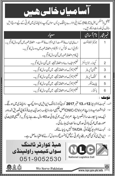 NLC Printing Press Sawan Camp Rawalpindi Jobs 2017 Application Form Download