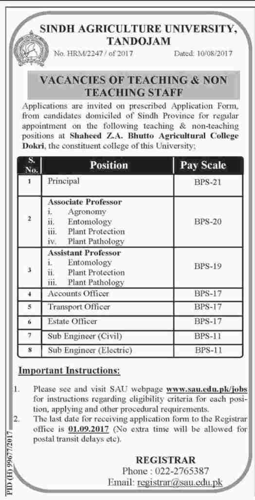 Sindh Agriculture University Tandojam Jobs 2017 Application Form Download Interview Dates