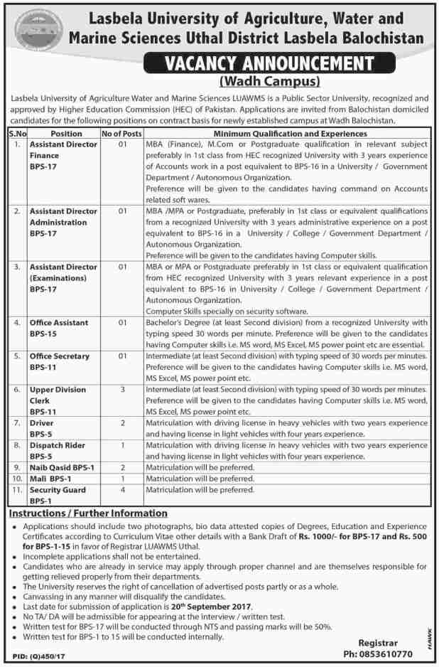 Lasbela University of Agriculture water and Marine Sciences Wah Cantt Campus Jobs 2017 Application Form Submission Last Date