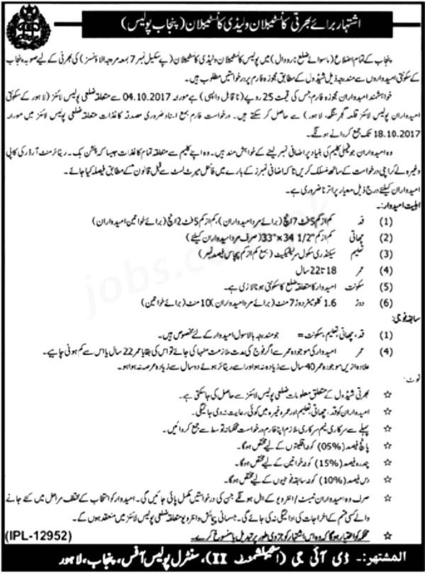 Punjab Police Constable and Lady Constable Jobs 2021 Application Form Submission Last Date Eligibility Criteria